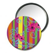 """bijoux fleurs miroir fleur miroir colore miroir muticolore petit cadeau : Miroir de poche """"Belles rayures"""""""
