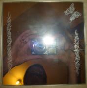 deco design miroir papillon gravure tribal : Butterfly mirror