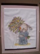 tableau fleurs fleur lapin tableau point de croix : Cueilli pour toi
