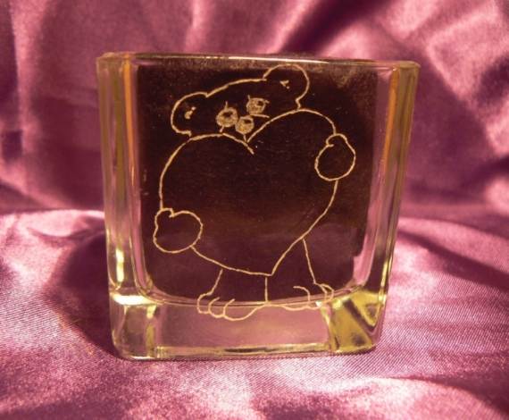 CéRAMIQUE, VERRE gravure verre coeur ourson  - Déclaration d'amour