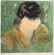 autres personnages femme lithographie originale mourlot : JEUNE FEMME EN BUSTE