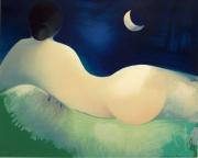 autres nus nu femme lithographie lune : NU AU CLAIR DE LUNE