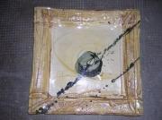 ceramique verre abstrait plat ceramique decoration faience : plat carré sable