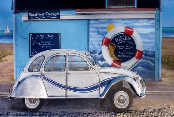 TABLEAU PEINTURE voiture 2cv Marine Acrylique  - 2cv france 3 Hisséo
