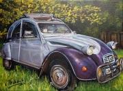 tableau autres voiture 2cv : 2cv grise et violette
