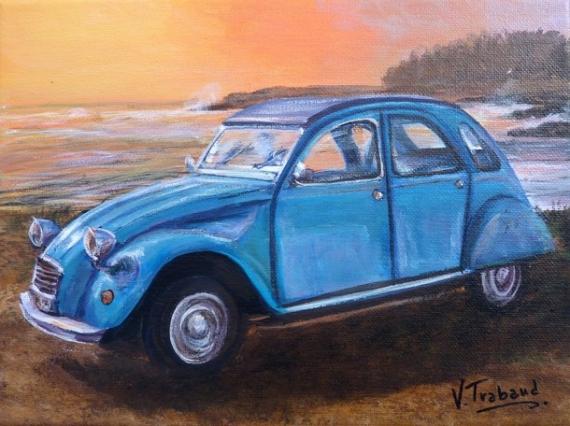 TABLEAU PEINTURE voiture 2cv Marine Acrylique  - 2cv bleue petrel
