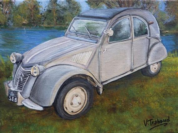 TABLEAU PEINTURE voiture 2cv Paysages Acrylique  - 2cv grise et etang