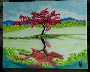tableau paysages lac paysages nature cerisier oriental sa : N° 118-Cerisier Oriental Sakara sur le Lac