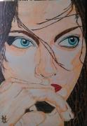 tableau personnages femme visage portrait l intrigante : N° 134 L'Intrigante