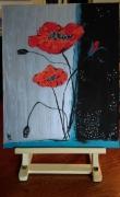 tableau fleurs coquelicot fleurs nature les coquelicots sur : N° 110  Les coquelicots sur fond Argenté-Noir