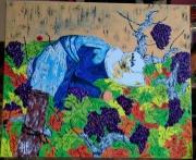 tableau personnages vigne nature paysage le vendangeur : N° 126- Le Vendangeur