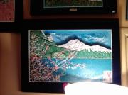 tableau paysages lac montagne paysage bois : N° 77 Montagne sur un Lac Canadien