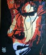 tableau personnages portrait visage femme la discrete : N° 131 La Discrète