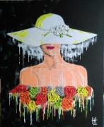 tableau personnages portrait femme personnage la belle aux fleurs : N° 123 La Belle aux Fleurs