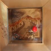 tableau scene de genre parapluie rouge lumieres banc : Le parapluie rouge 2