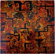 tableau abstrait chine papier decoupe ombres laque : Atout coeurs