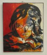 tableau portrait femme portrait contemporai visage feminin : J'y songe