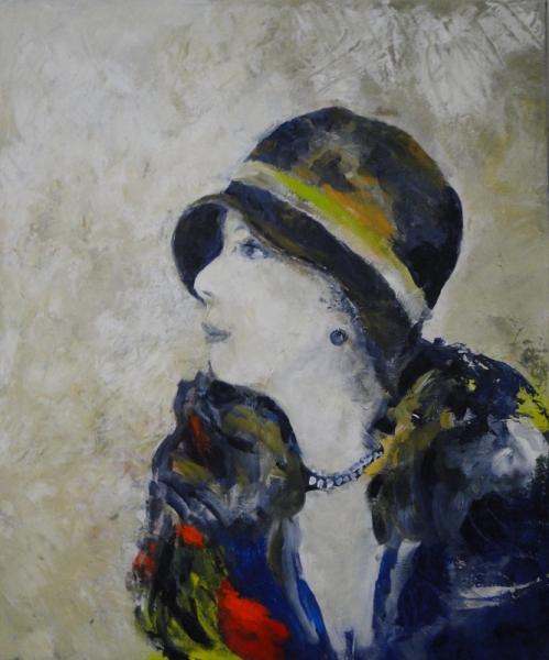 TABLEAU PEINTURE Portrait année 30 Femme au chapeau Portrait femme Chapeau année 20 Personnages  - Mimi