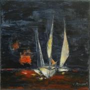 tableau marine voilers paysage marin ocean bateaux : Voiles de nuit