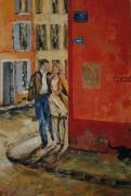 tableau personnages couple bonheur chat noir cadeau mariage : Rue du Bonheur