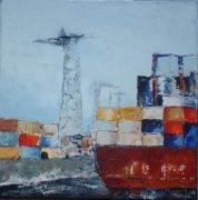 tableau marine quai maritime port marchand cargo portecontainers : Port marchand
