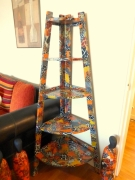marquetry abstrait afrique art deco angle etagere : ETAGERE ART DECO AFRIQUE