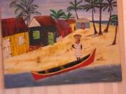 tableau scene de genre personnage maison mer barque : retour du marché