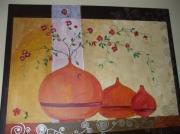 tableau scene de genre vase fleur arabesque : les 3 vases