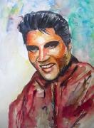 tableau personnages portrait aquarelle : Elvis Presley