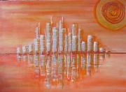 tableau paysages paysage orange ville : Canicule sur Metropolis