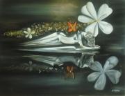 tableau abstrait argent femme nu fleur : Souffle Divin