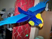 bois marqueterie animaux perroquet mobile bois enfant : objets en bois