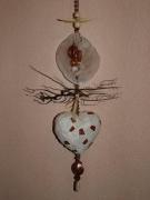 artisanat dart autres coeur mosaique creme et ambre : Coeur de mer (VENDU)