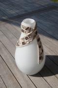 artisanat dart autres vase verre creme mosaique : Vase crème (VENDU)