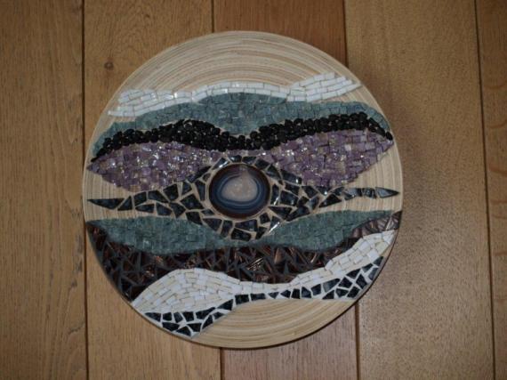 ARTISANAT D'ART Tableau mosaique  - Vagues sur Bambou