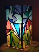 artisanat dart autres lampe verre vitrail bleu rose vert : Lampe vitrail rose/ bleu/ vert (VENDU)