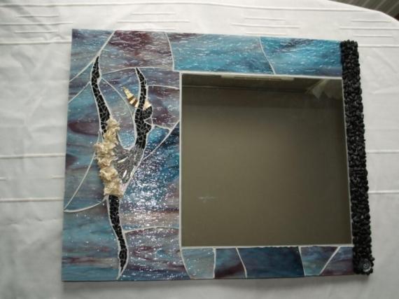 ARTISANAT D'ART miroir mosaïque danseuse bleu- violet  - Reflet de Danseuse (VENDU)