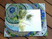 artisanat dart abstrait miroir vert mosaique : Miroir circulaire vert (VENDU)