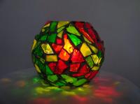 Boule vitrail rouge/ vert (VENDU)