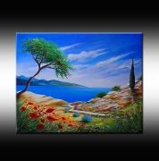 tableau paysages mer paysage art contemporain bruni : Paysage bord de mer