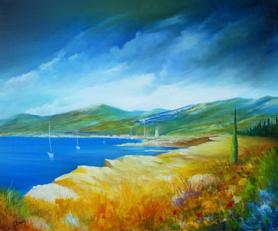 TABLEAU PEINTURE Mer Ciel Orage Paysage Paysages Peinture a l'huile  - Ciel orageux en bord de mer