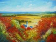 tableau paysages automne paysage campagne couleurs : Couleurs d'automne en Bourgogne