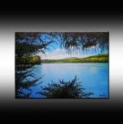 tableau paysages lac dijon tableau peinture : Sur les rives du Lac Kir - Dijon