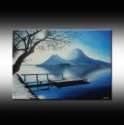 tableau paysages annecy lac neige bruni : Lac d'Annecy en hiver