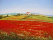 tableau paysages coquelicots champ campagne paysage : Champ de coquelicots