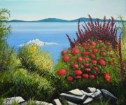 tableau paysages creation paysage marin bord de mer fleurs : Bord de mer