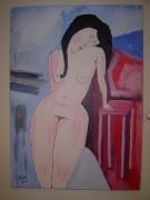 tableau personnages femme nue brune : femme nue
