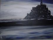 tableau paysages mer mont nuit sombre : Saint Michel
