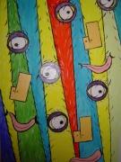 tableau abstrait trois visage couleur gaie : Les Triplés