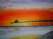 tableau marine coucher soleil mer couleur : Coucher de Soleil